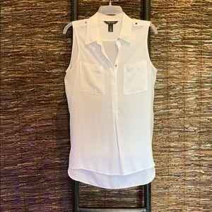 White sleeveless blouse, size M
